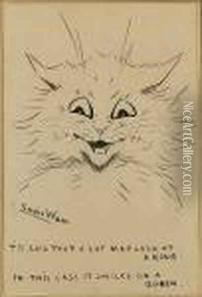 'tis Said That A Cat May Look At A King.... Oil Painting - Louis William Wain