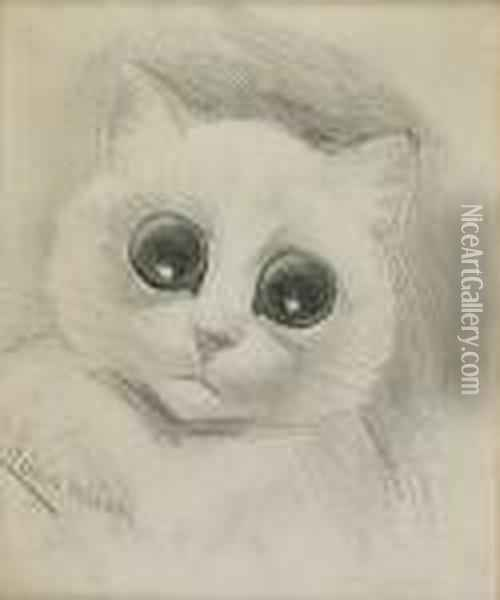 Starry Eyed Cat Oil Painting - Louis William Wain