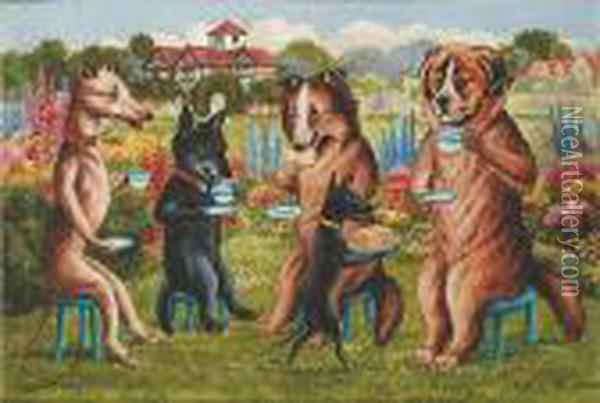 Dog's Tea Party Oil Painting - Louis William Wain