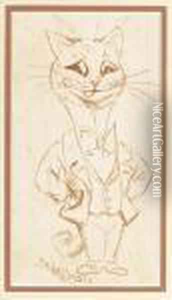 Gentleman Cat Oil Painting - Louis William Wain