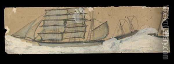 Sail Boat In Full Sail, On A Christmas Card From The Salvation Army Oil Painting - Alfred Wallis