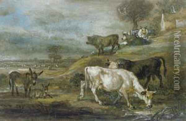 Cattle And A Pair Of Donkeys Grazing In An Extensivelandscape Oil Painting - James Ward