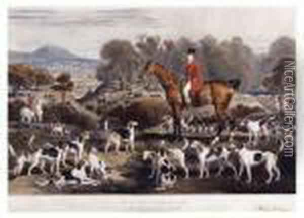 His Horse Undertaker, And Hounds Oil Painting - James Ward