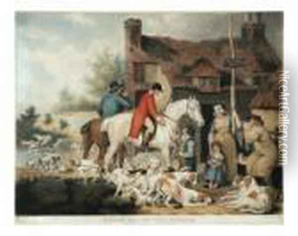 Ward Outside Of A Countryalehouse Oil Painting - James Ward
