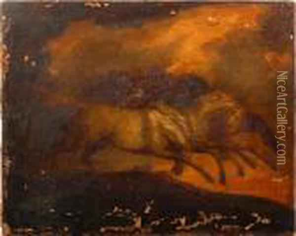 A Study For Five Horses Oil Painting - James Ward