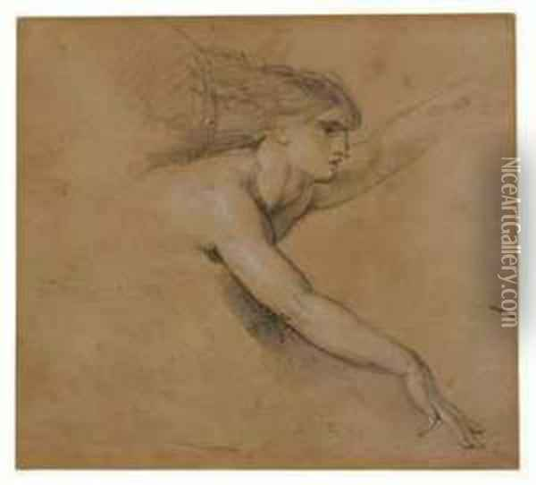 Study Of An Angel For The Pool Of Bethesda Oil Painting - James Ward