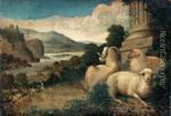 Pastoral Landscape With Ruins And Restingsheep Oil Painting - James Ward
