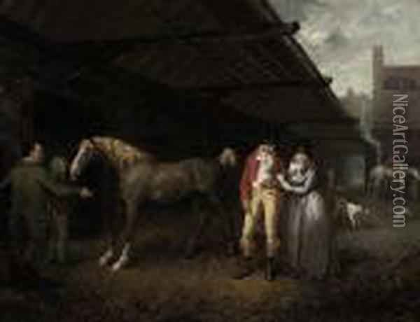 A Livery Yard Oil Painting - James Ward
