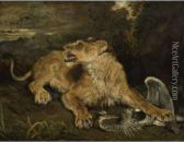 A Lioness With A Heron Oil Painting - James Ward