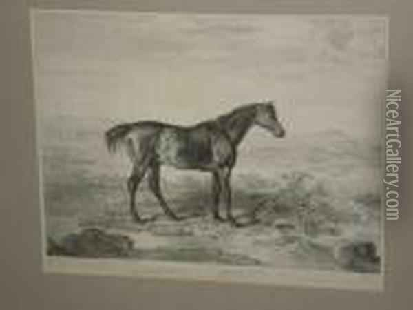 'doctor Syntax', A Horse In A  Landscape, Together With Another 'primrose And Foal' In A Stable Oil Painting - James Ward