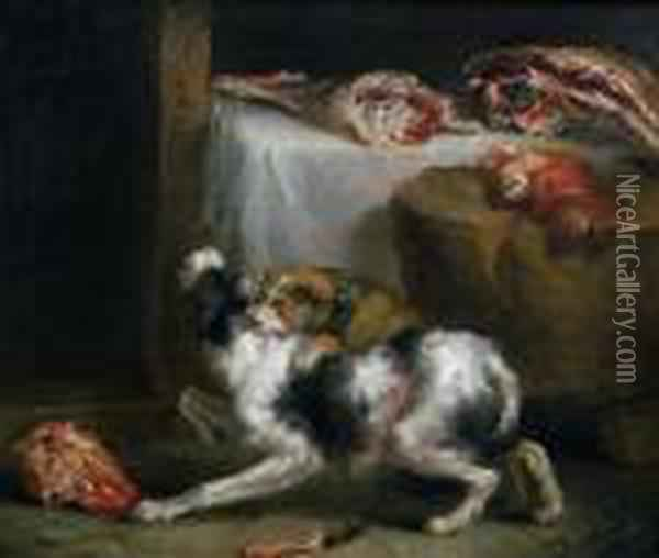The Dog Fight Oil Painting - James Ward