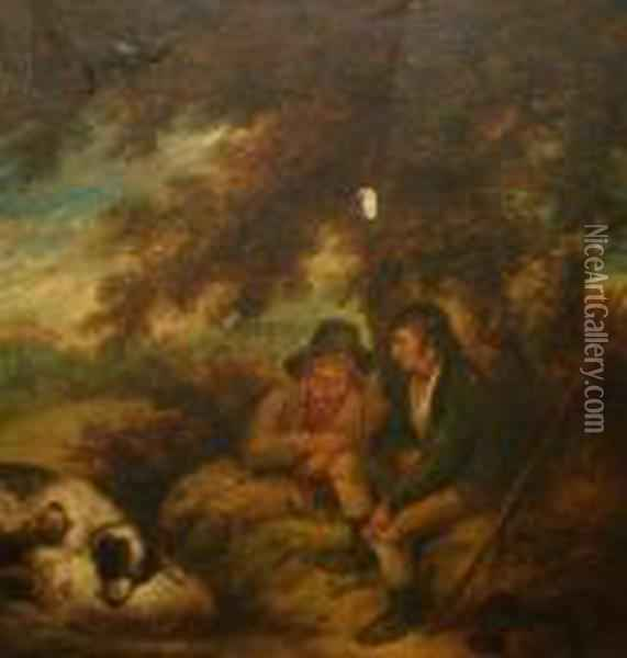 Two Shepherds With Their Dogs Resting Beneath A Tree Oil Painting - James Ward
