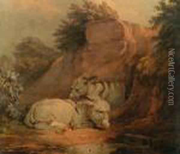 Two Donkeys Resting By A Rocky Outcrop Oil Painting - James Ward