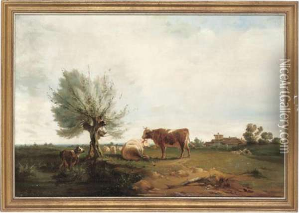 Cattle Grazing Oil Painting - James Ward