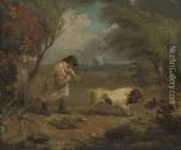 A Man With A Pig In A Landscape Oil Painting - James Ward