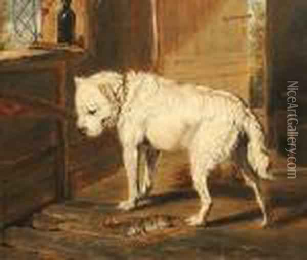 The Ratter. Oil Painting - James Ward