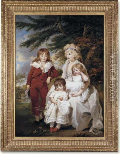 Family Portrait Of The Hon. Juliana Talbot Mrs. Michael Bryan Oil Painting - James Ward