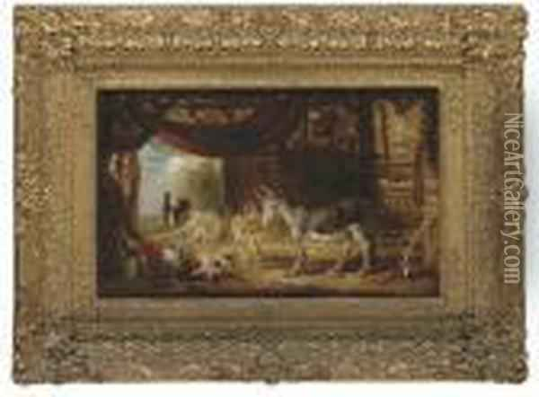Donkeys And A Pig In A Barn With Cattle Beyond Oil Painting - James Ward