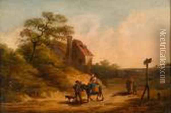 Travellers On The Road Oil Painting - James Ward