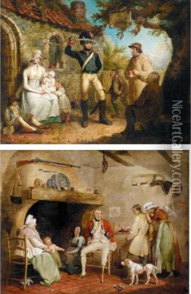 The Recruit; And The Wounded Soldier Oil Painting - James Ward
