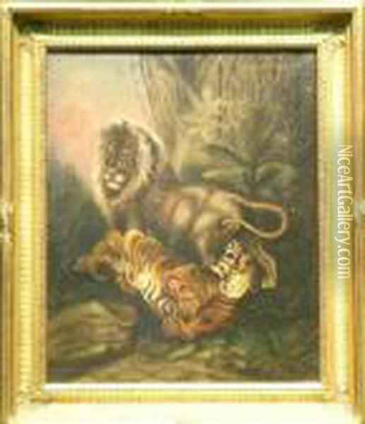 Lion And Tiger In Jungle Oil Painting - James Ward