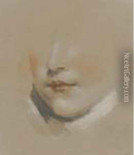 Study Of The Head Of A Boy Oil Painting - James Ward