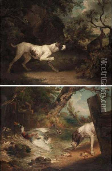 A Set Of Four Sporting Scenes Oil Painting - James Ward