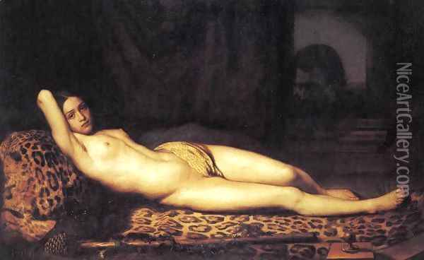 Nude Girl on a Panther Skin 1844 Oil Painting - Felix Trutat