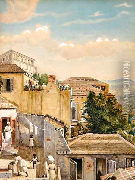 A family on a rooftop in St Thomas, Virgin Islands, 1873 Oil Painting - William August Thulstrup