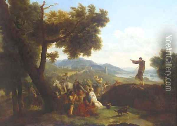 Saint Francis preaching in an extensive landscape, a town beyond Oil Painting - Nicolas Antoine Taunay