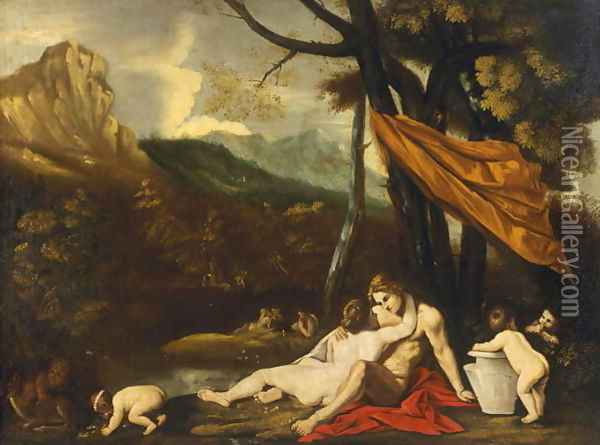 Landscape with an erotic scene Oil Painting - Pietro Testa