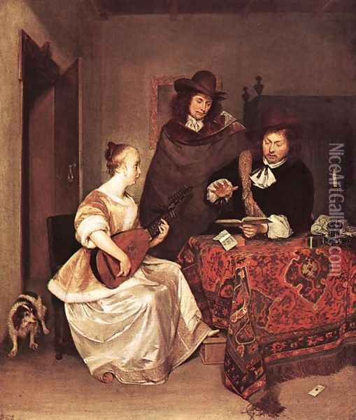 A Young Woman Playing a Theorbo to Two Men Oil Painting - Gerard Terborch