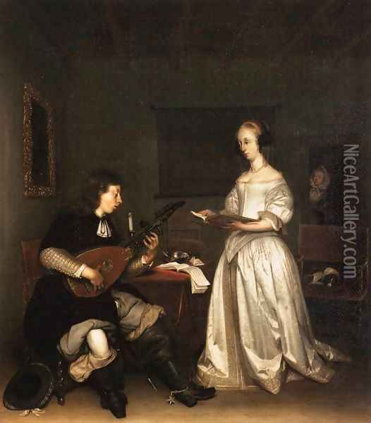 The Duet Singer and Theorbo Player Oil Painting - Gerard Terborch