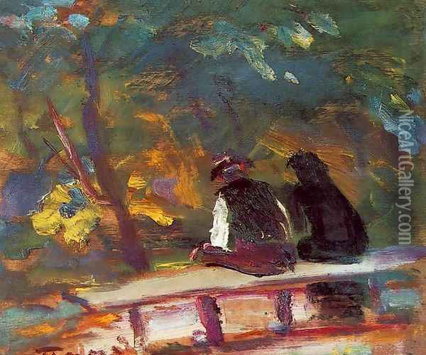 On the Bench 1933-34 Oil Painting - Janos Tornyai