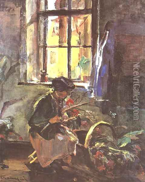 Making a Bunch of Flowers 1933 Oil Painting - Janos Tornyai