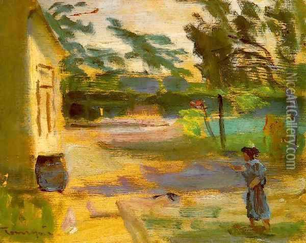 Courtyard in Sunshine 1928 Oil Painting - Janos Tornyai