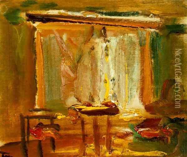 Interior with Curtained Window 1929 Oil Painting - Janos Tornyai