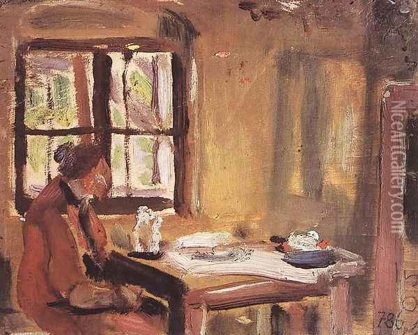 At the Window Rozsi at the Table 1933-34 Oil Painting - Janos Tornyai