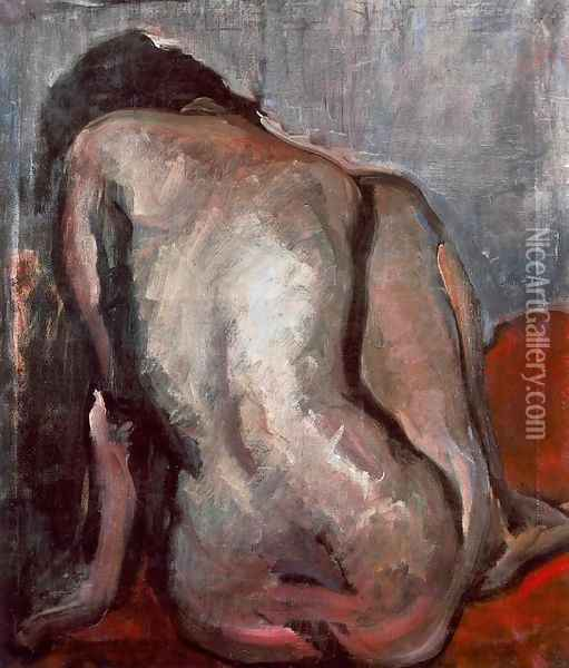 Sitting Nude from the Back 1919 Oil Painting - Janos Tornyai