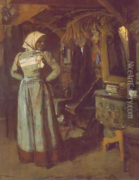 Young Woman in the Atelier 1904 Oil Painting - Janos Tornyai