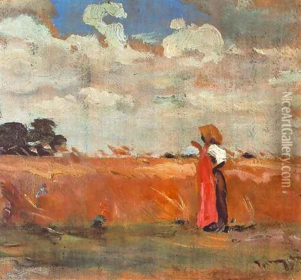 Wheatland with Woman of Shawl 1912 Oil Painting - Janos Tornyai