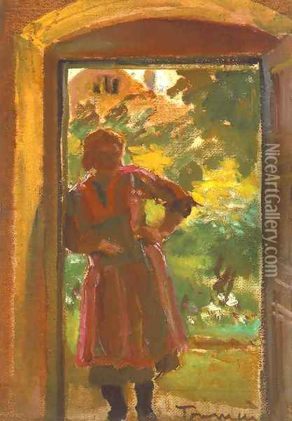 Woman Standing in a Door 1933-34 Oil Painting - Janos Tornyai
