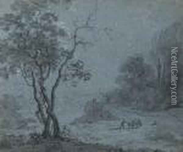 A Man And Two Donkeys In A Wooded Landscape Oil Painting - Anthonie Waterloo