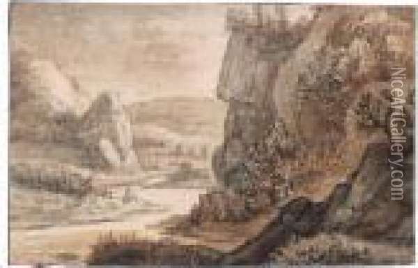 Sketchbook Page With A Mountainous River Landscape And Figures In The Bend Of The River Oil Painting - Anthonie Waterloo