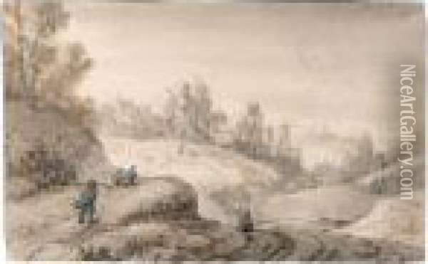 Sketchbook Page With Travellers Approaching A Farm Oil Painting - Anthonie Waterloo