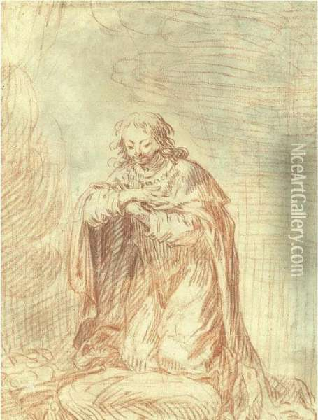 Recto: Man Kneeling In Prayer  (st. Louis) Verso By Another Hand: Couple From Commedia Del' Arte Oil Painting - Watteau, Jean Antoine