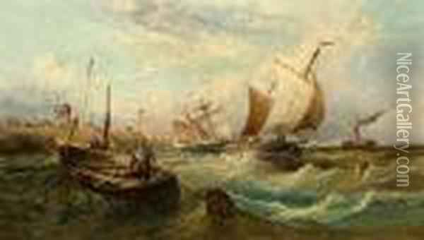 Shipping Off The Suffolk Coast Oil Painting - William Edward Webb