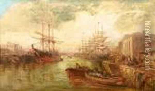 The Crowded Harbour At Douglas, Isle Of Man Oil Painting - William Edward Webb