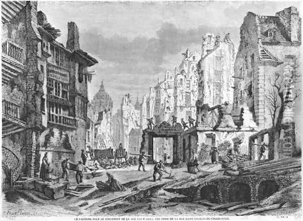 Paris, demolitions for the building of Rue des Ecoles, view taken from rue Saint-Nicolas du Chardonnet, engraved by Charles Maurand 19th century Oil Painting - Felix Thorigny
