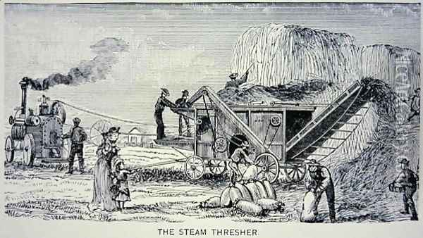 Steam Thresher, from Marvels of the New West 1888 Oil Painting - W.H. Thayer